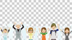 Cheering people in White background -Waist up + Alpha channel Stock Footage