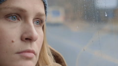 Tired Woman by the Window Stock Footage