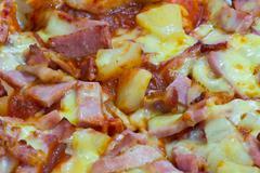 Close up of hawaiian pizza. Stock Photos