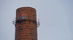A big tube tower outside the castle Stock Footage