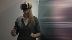 Traveling in virtual space with special headset Stock Footage