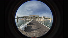 Cannes Pier Day to Night, Fisheye Stock Footage