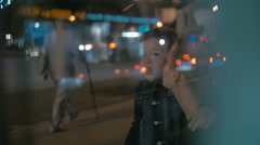 Woman and Boy Waiting for a Bus Stock Footage