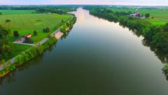 Beautiful Evening Aerial of the Fox River in Rural Wisconsin Stock Footage