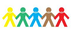 Multi color happy people holding hands Stock Illustration