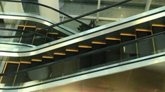 Escalators are shown that constantly run upstairs Stock Footage