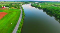 Beautiful Evening Aerial of the Fox River in Rural Wisconsin - stock footage