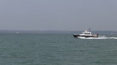 Pilot Boat Moving Through Water on The Solent in Hampshire Stock Footage