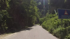 Passing truck. Road in the Rhodope Mountains, Bulgaria - stock footage