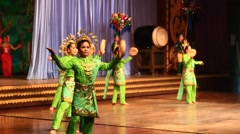 Folk artists performing culture and traditional dance, Thailand Stock Footage