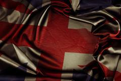 Closeup of grunge Union Jack flag Stock Photos