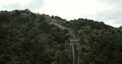 4K video of The Great Wall of China, high up in the mountains Stock Footage