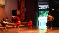 Folk artists performing culture and traditional dance , Pattaya, Thailand Stock Footage