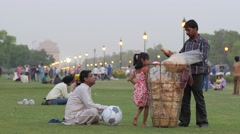 Food seller on Rajpath in evening,New Delhi,India Stock Footage