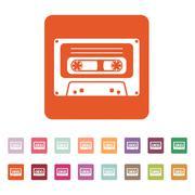 The tape icon. Cassette symbol. Flat - stock illustration