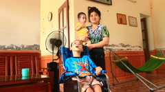 boy with cerebral palsy, Asia - stock footage