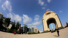 Mexican Revolution monument. (FULL SHOT-TIME LAPSE-FISHEYE-ZOOM IN) Stock Footage