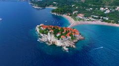 An aerial view of Sveti Stefan Stock Footage