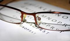 problems with vision when we reading - stock photo