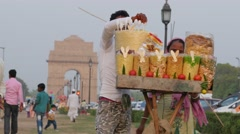 Street seller at India Gate,New Delhi,India Stock Footage