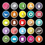 Sweet food flat icons with long shadow - stock illustration
