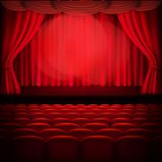 Red curtain template. EPS 10 - stock illustration