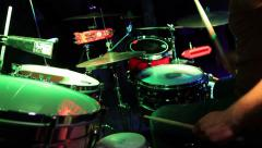 Rock band performing in a nightclub. Close-up of drummer - stock footage