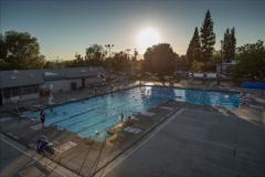 Public Swimming Pool Sunset Timelapse Stock Footage