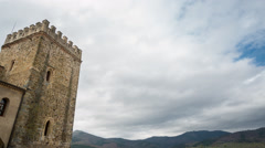 Time Lapse of castel tower and clouds Stock Footage