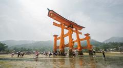 Miyajima, Floating Torii gate time lapse, low tide, Japan. - stock footage