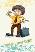 Tighten your belt - stock illustration