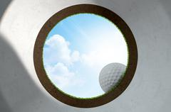 Golf Hole With Ball Approaching - stock illustration