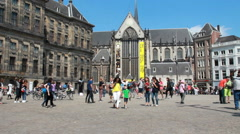 Tourists on Dam Square in Amsterdam Stock Footage