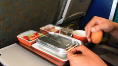 Meals on the plane Stock Footage