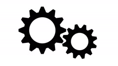Silhouette gears on a white background - stock footage