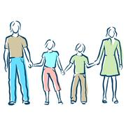 A young couple standing with children Stock Illustration