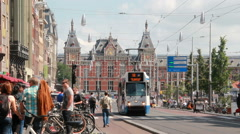 Streetcar and Railway Station of Amsterdam Stock Footage