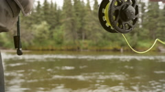 Fly-Fisherman Managing his Line Stock Footage