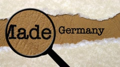 Magnifying glass on made in Germany Stock Footage