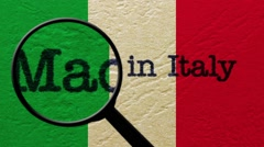 Magnifying glass on made in italy Stock Footage