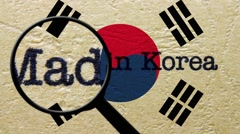 Magnifying glass on made in Korea Stock Footage