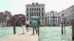 Foto shoot at canal of Venice - stock footage