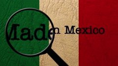 Magnifying glass on made in Mexico Stock Footage