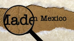 Magnifying glass on made in Mexico - stock footage