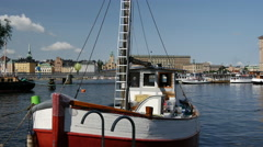 Old fishing trawler and part of the Stockholm Ship Association Stock Footage