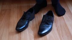 Groom on wedding dresses shoes Stock Footage