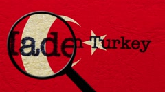 Magnifying glass on made in Turkey Stock Footage