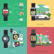 Smart Watch Set - stock illustration