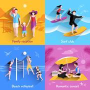 People On Beach - stock illustration
