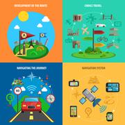 Travel And Navigation Decorative Icon Set - stock illustration